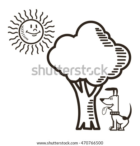 Dog Sun Tree Nature Cartoon Icon Stock Vector 470766500