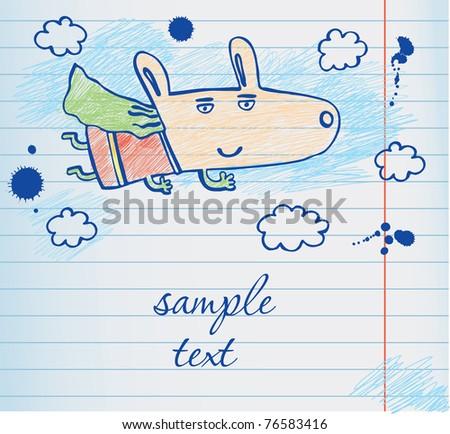dog superhero illustration - stock vector