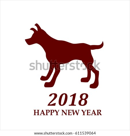 Dog symbol of 2018 new year on white background