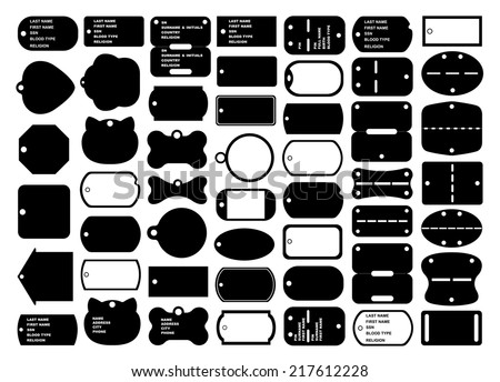 Dog tags set isolated on white - stock vector