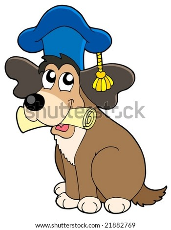 Dog teacher in hat - vector illustration.