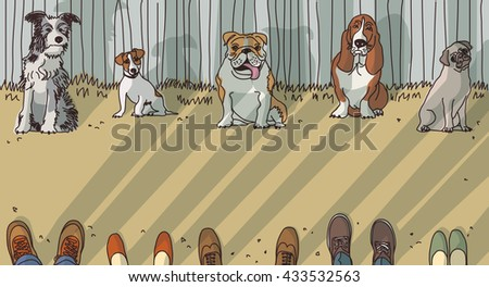Dog training breeds and owner exercise. Color vector illustration. EPS8