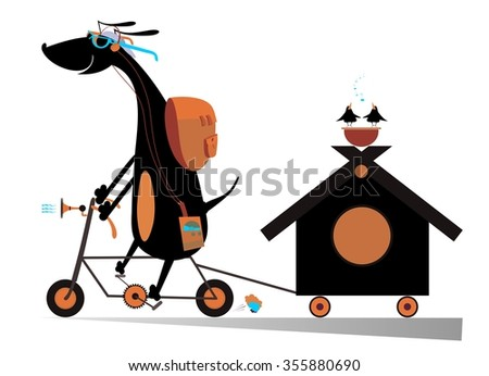 Dog travels on the bike with doghouse - stock vector