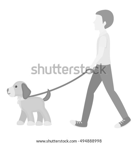 Dog walk vector icon in monochrome style for web