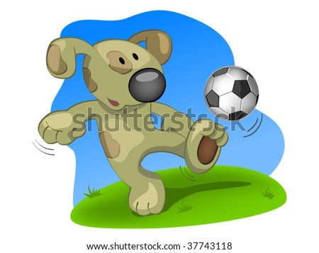 dog with ball - stock vector