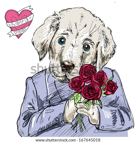 Dog with flowers, sketchy hand drawn illustration  - stock vector