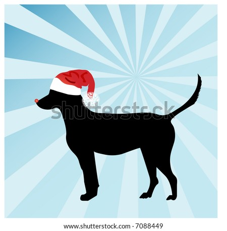 Dog with Rudolph nose (use with or without) - stock vector