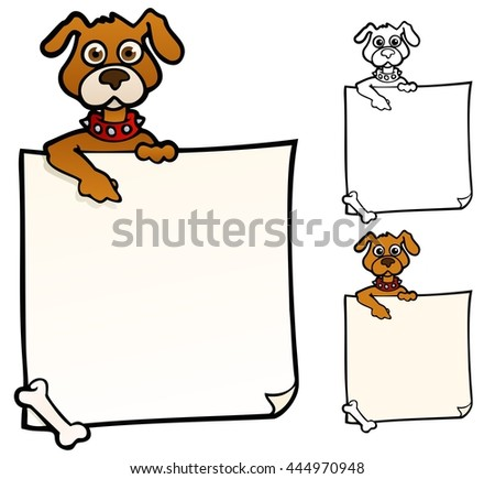 Doggie with a sign, to use as a background or border - stock vector