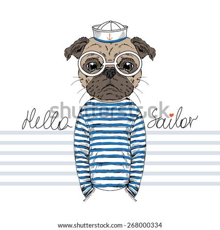 doggy pug sailor, nautical poster, t-shirt design - stock vector