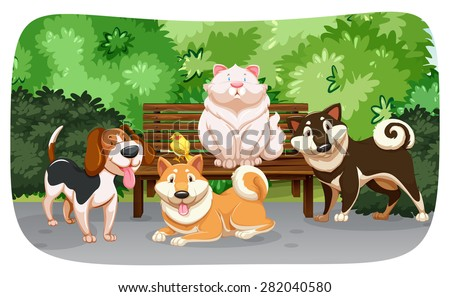 Dogs and cat in the park - stock vector