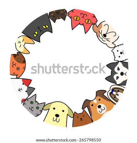 dogs and cats circle with copy space - stock vector