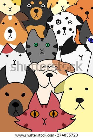 Dogs and cats face collection - stock vector
