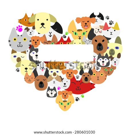 Dogs and cats face in heart-shape - stock vector