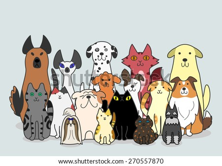 dogs and Cats group - stock vector