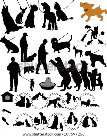Dogs cats of a rat animals a vector - stock vector