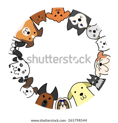 dogs circle with copy space - stock vector