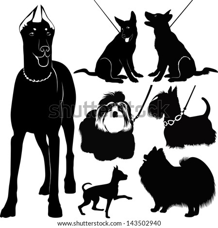 dogs collection in the exhibition vector isolated on white background - stock vector