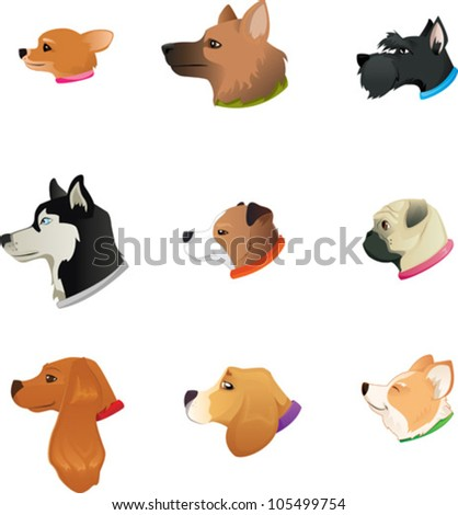 Dogs Heads icon set - stock vector