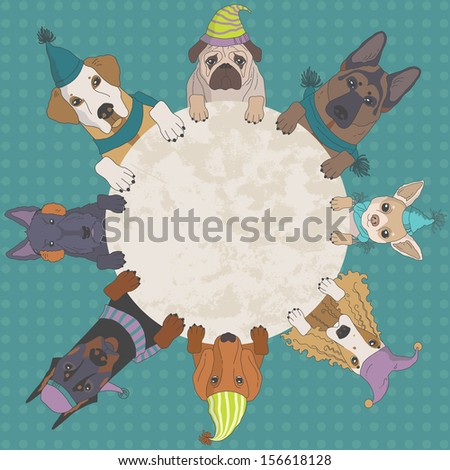 Dogs in caps round the poster - stock vector