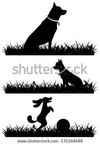 Dogs in grass silhouettes collection. EPS 8 vector, grouped for easy editing. No open shapes or paths.