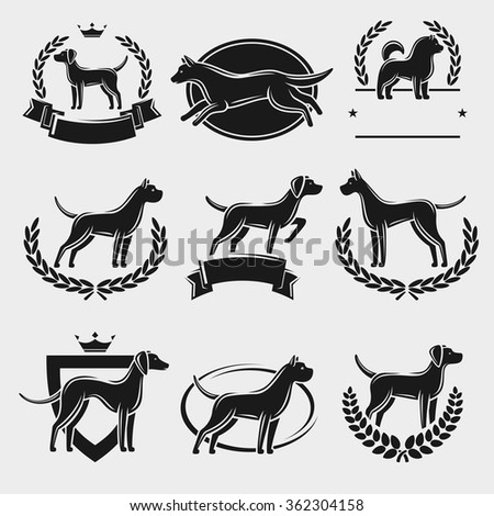 Dogs label and icons set. Vector  - stock vector