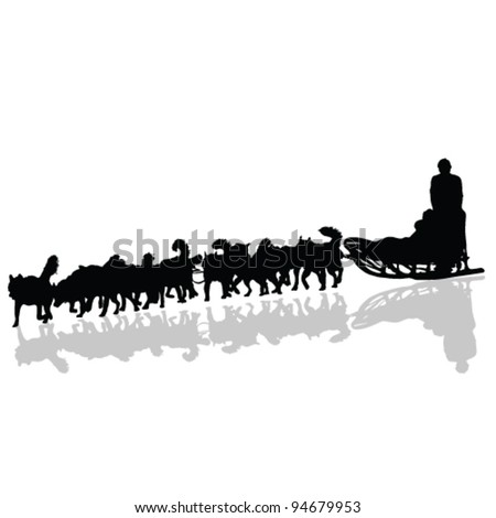 dogs pulling a sled in black vector silhouette - stock vector