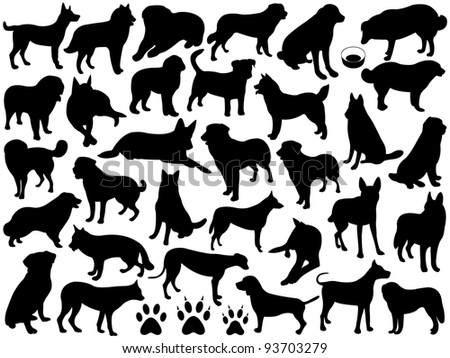 Dogs silhouette collage - stock vector