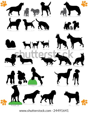 dogs silhouette part 2 of 3:dog's breed