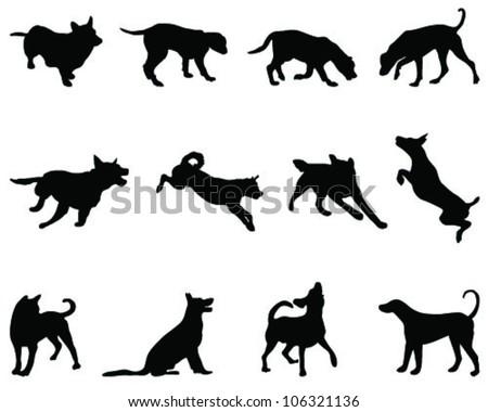 Dogs Silhouette Vector Stock Vector 106321136 Shutterstock