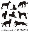 Dogs silhouettes - stock photo
