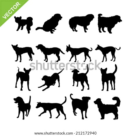 Dogs silhouettes vector - stock vector