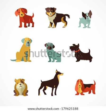 Dogs vector set of icons and illustrations - stock vector