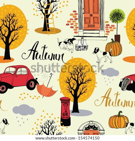 Dogs, vintage cars, pumpkins and autumn trees. Seamless background - stock vector