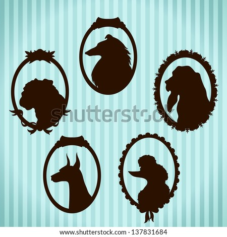 Dogs vintage framed silhouettes - stock vector