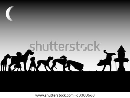 Dogs waiting for pee (vector) - stock vector
