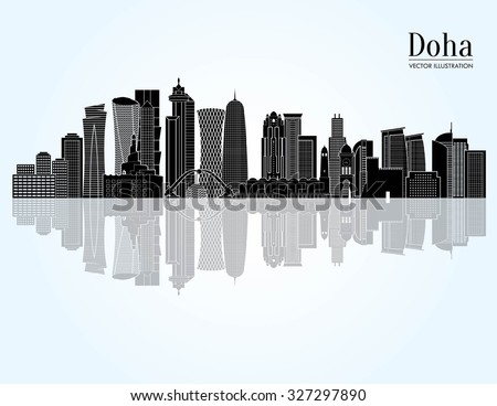 Doha detailed skyline. Vector illustration