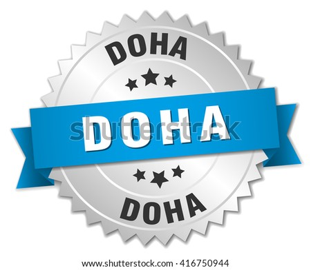 Doha round silver badge with blue ribbon