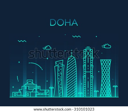 Doha skyline, detailed silhouette. Trendy vector illustration, linear style.