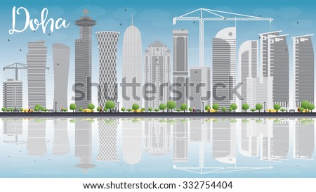 Doha skyline with grey skyscrapers and blue sky. Vector illustration. Business and tourism concept with copy space. Image for presentation, banner, placard or web site - stock vector