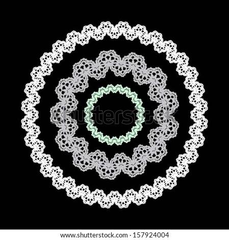 Doily / lace frame, decor / design element, wedding border, vector.  Set of floral seamless border - stock vector