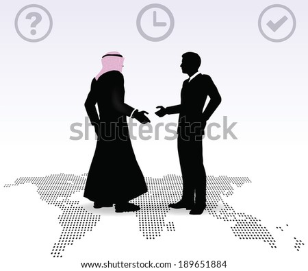 Doing business in middle east hand shake on business agreement - stock vector