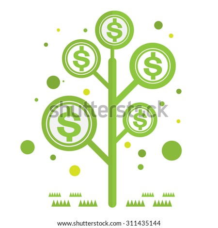 Dolar money tree green with icons Vector Currency - stock vector