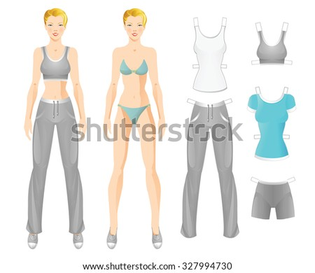 paper doll template woman - doll with clothes body template of blonde girl clothes