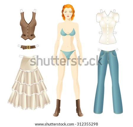 Doll with clothes paper clothes in country style. - stock vector