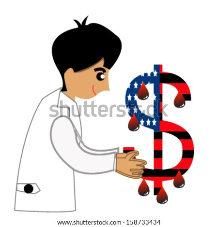 dollar and doctor illustration design over white - stock vector