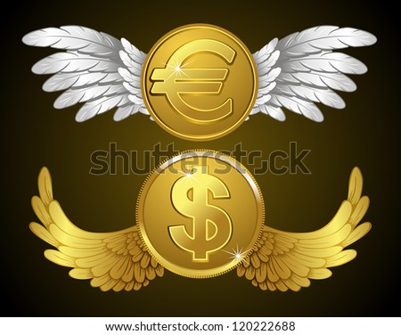 Dollar and euro coins with wings - stock vector