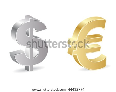 dollar and euro icon - stock vector