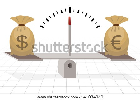 dollar and euro on seesaw balance - stock vector