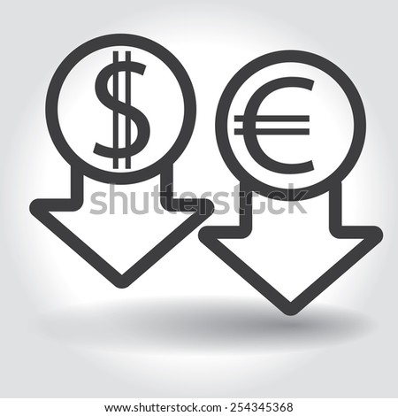 Dollar and euro symbols with Arrows down - stock vector