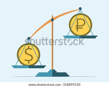 Dollar and ruble coins on scales. Rouble in decline. Flat style. Exchange rate concept. EPS 8 vector illustration, no transparency - stock vector